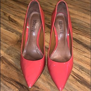 Schutz leather peach color high heels shoes